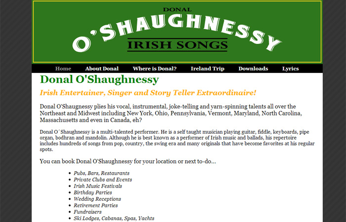 Irish Songs Donal O'Shaughnessy
